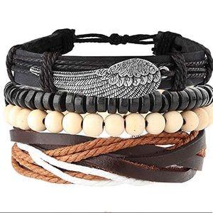 Other - Boho Beaded Leather Cuff Bracelet